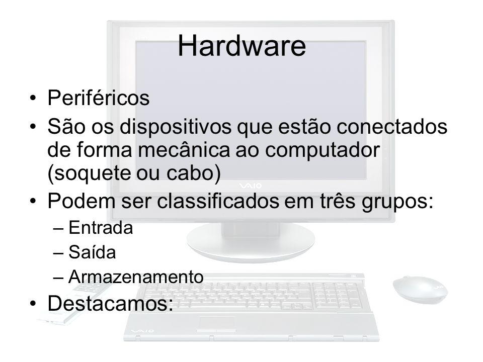 Hardware Periféricos. São os dispositivos que estão conectados de forma mecânica ao computador (soquete ou cabo)