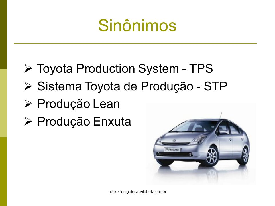 Sinônimos Toyota Production System - TPS