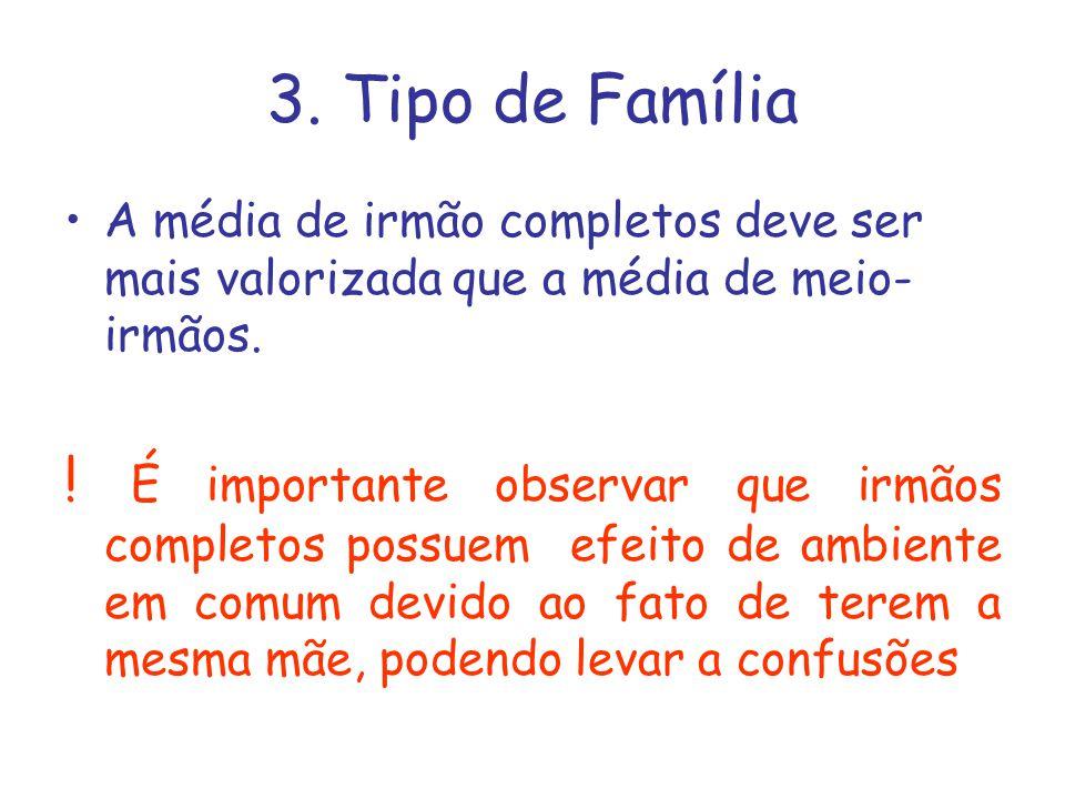 3. Tipo de Família A média de irmão completos deve ser mais valorizada que a média de meio-irmãos.