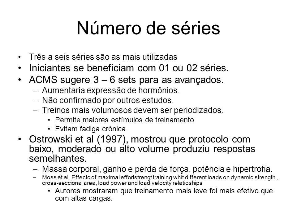 Número de séries Iniciantes se beneficiam com 01 ou 02 séries.