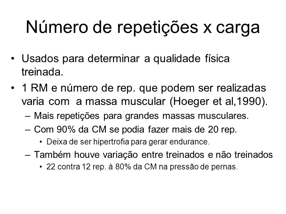 Número de repetições x carga