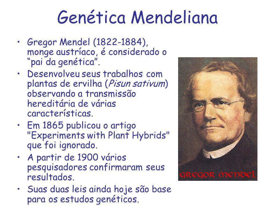Genética Mendeliana Gregor Mendel (1822-1884), monge austríaco, é considerado o pai da genética .