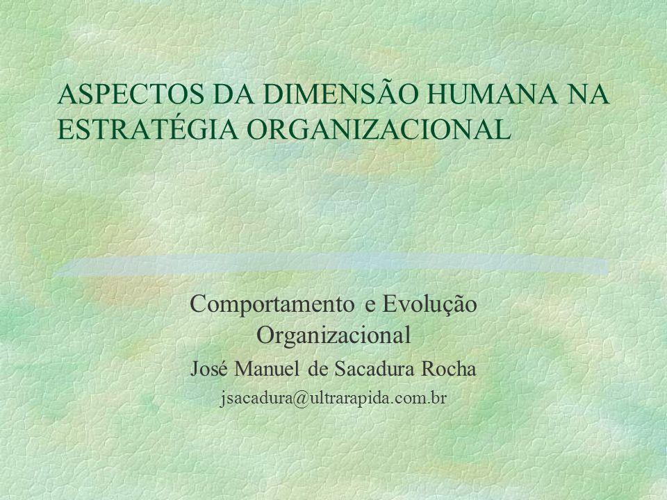 ASPECTOS DA DIMENSÃO HUMANA NA ESTRATÉGIA ORGANIZACIONAL