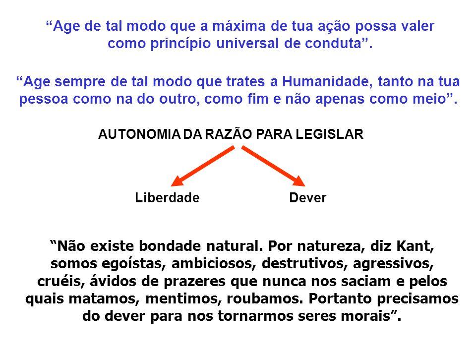 AUTONOMIA DA RAZÃO PARA LEGISLAR