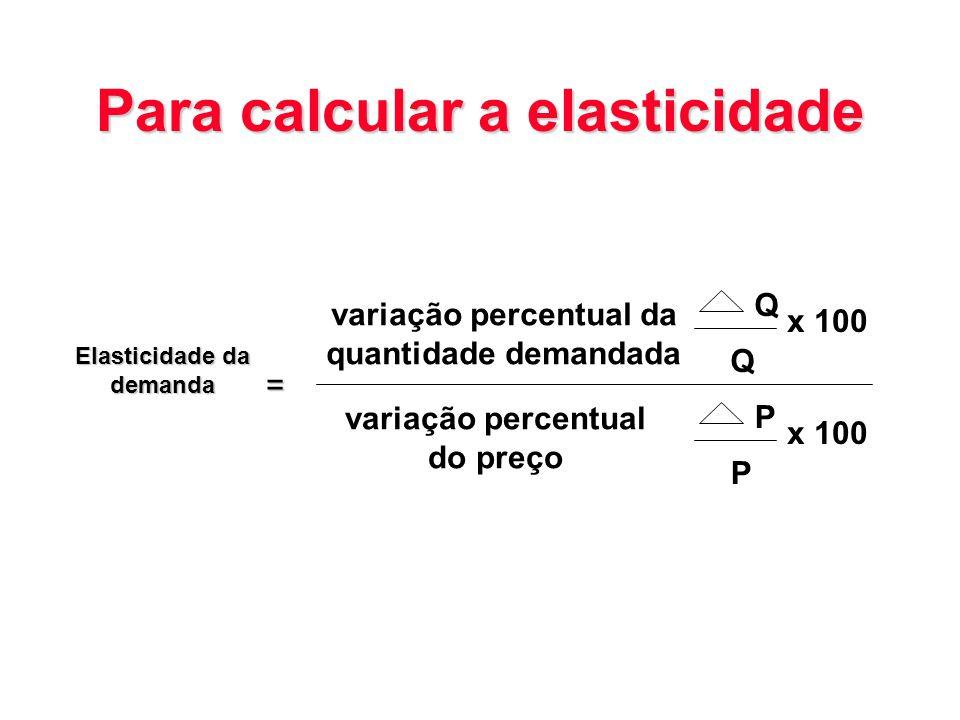 Para calcular a elasticidade