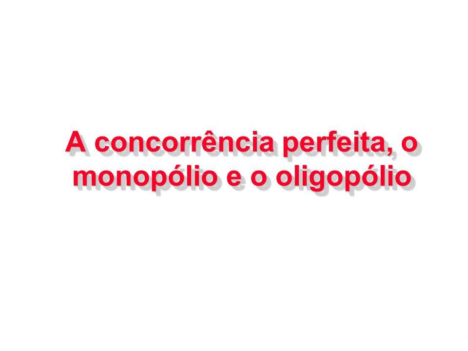 A concorrência perfeita, o monopólio e o oligopólio