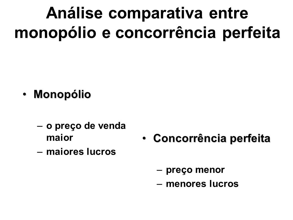 Análise comparativa entre monopólio e concorrência perfeita