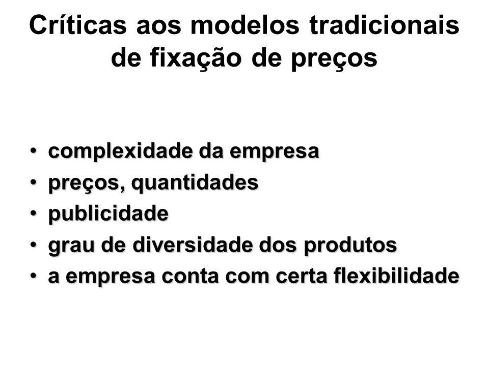 Críticas aos modelos tradicionais de fixação de preços