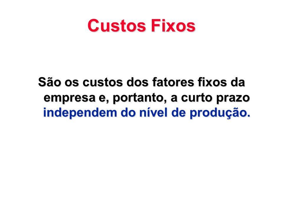 Custos Fixos São os custos dos fatores fixos da empresa e, portanto, a curto prazo independem do nível de produção.