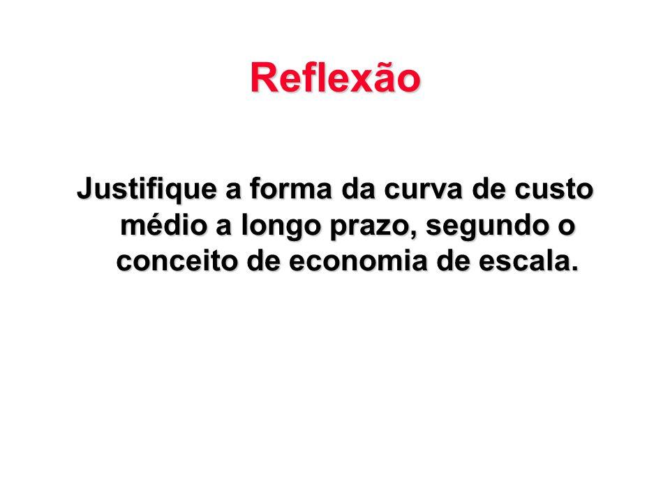 Reflexão Justifique a forma da curva de custo médio a longo prazo, segundo o conceito de economia de escala.