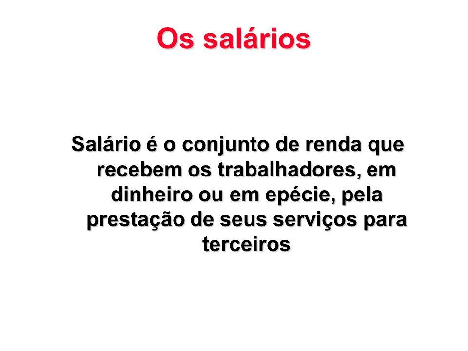 Os salários Salário é o conjunto de renda que recebem os trabalhadores, em dinheiro ou em epécie, pela prestação de seus serviços para terceiros.