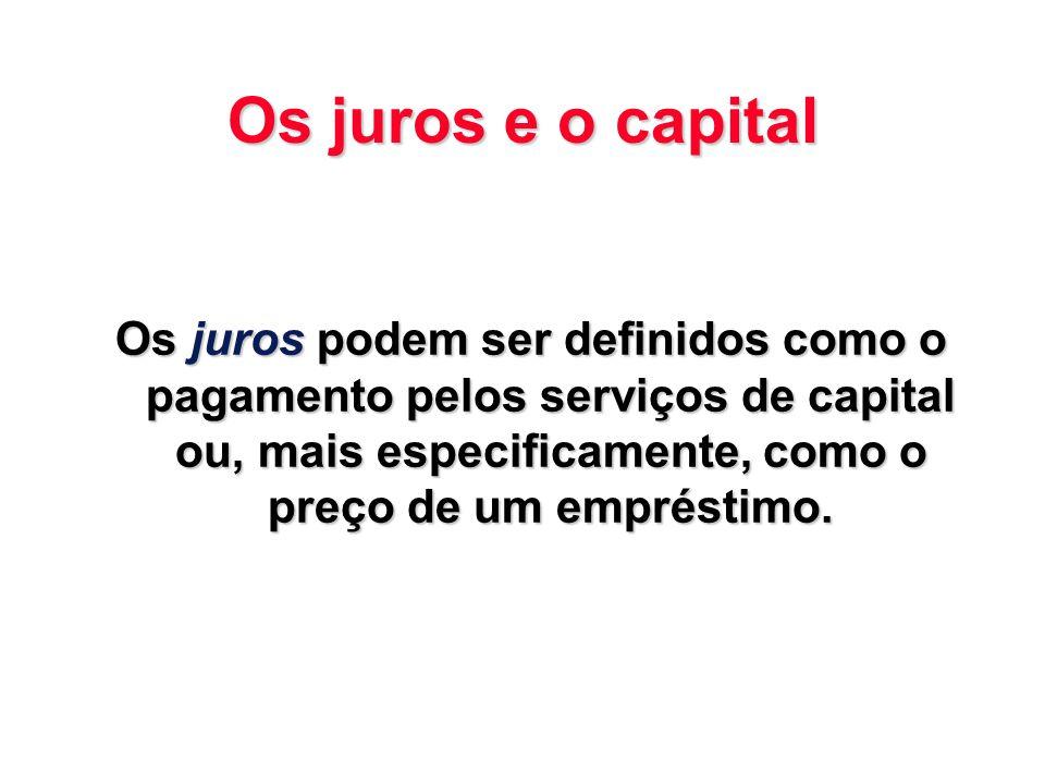 Os juros e o capital Os juros podem ser definidos como o pagamento pelos serviços de capital ou, mais especificamente, como o preço de um empréstimo.