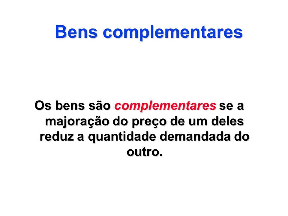 Bens complementares Os bens são complementares se a majoração do preço de um deles reduz a quantidade demandada do outro.