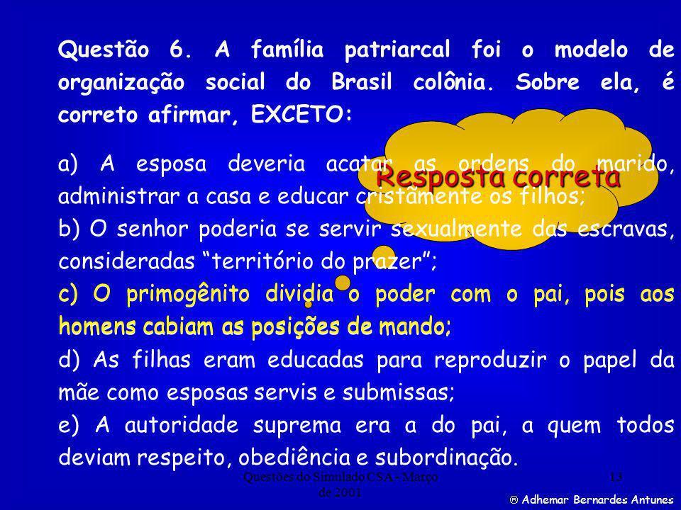 Questões do Simulado CSA - Março de 2001