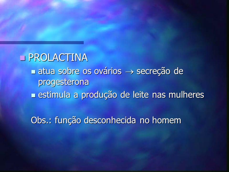 PROLACTINA atua sobre os ovários  secreção de progesterona