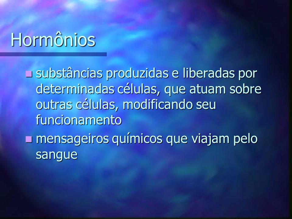 Hormônios substâncias produzidas e liberadas por determinadas células, que atuam sobre outras células, modificando seu funcionamento.