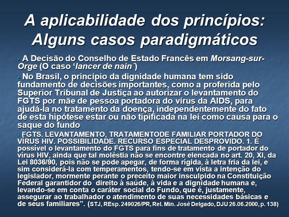 A aplicabilidade dos princípios: Alguns casos paradigmáticos