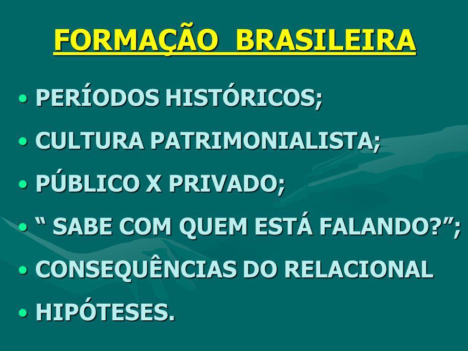 FORMAÇÃO BRASILEIRA PERÍODOS HISTÓRICOS; CULTURA PATRIMONIALISTA;