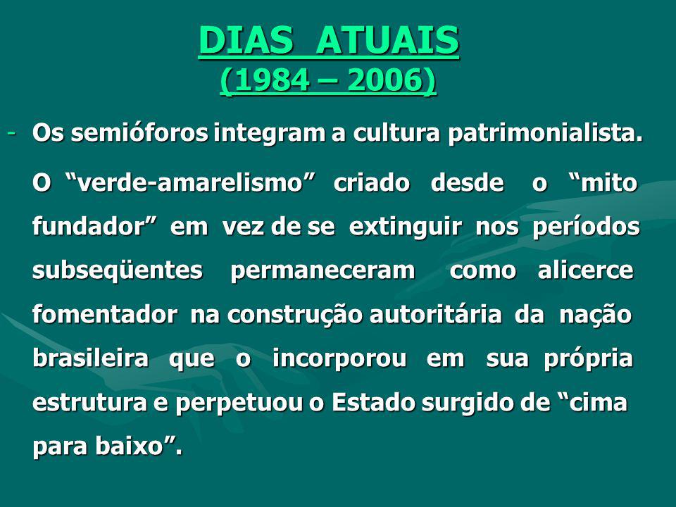 DIAS ATUAIS (1984 – 2006) Os semióforos integram a cultura patrimonialista.