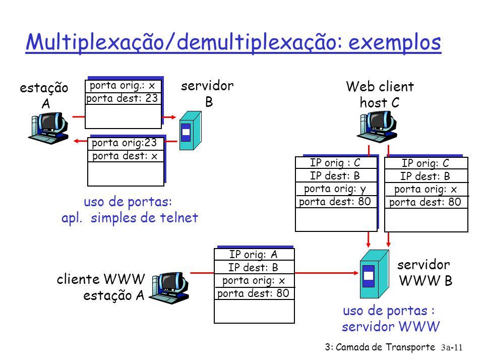 Multiplexação/demultiplexação: exemplos