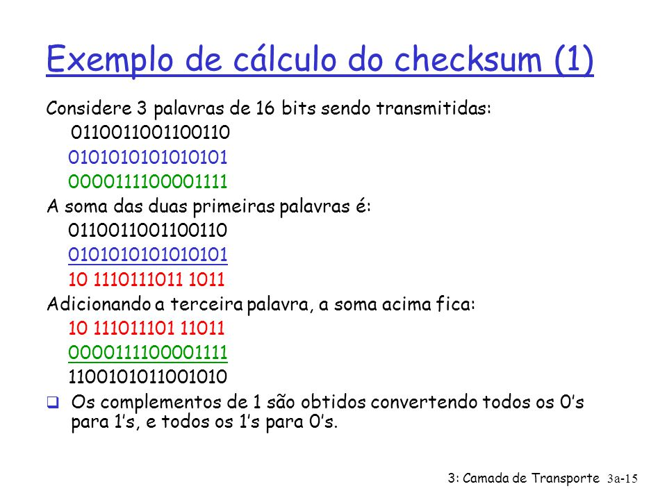 Exemplo de cálculo do checksum (1)
