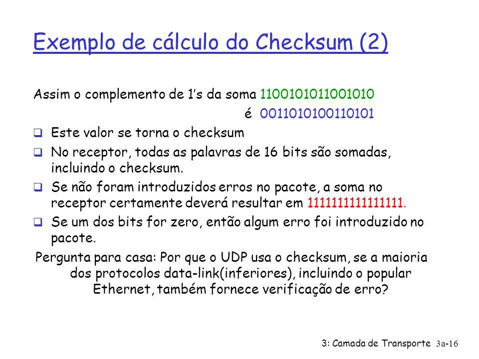 Exemplo de cálculo do Checksum (2)