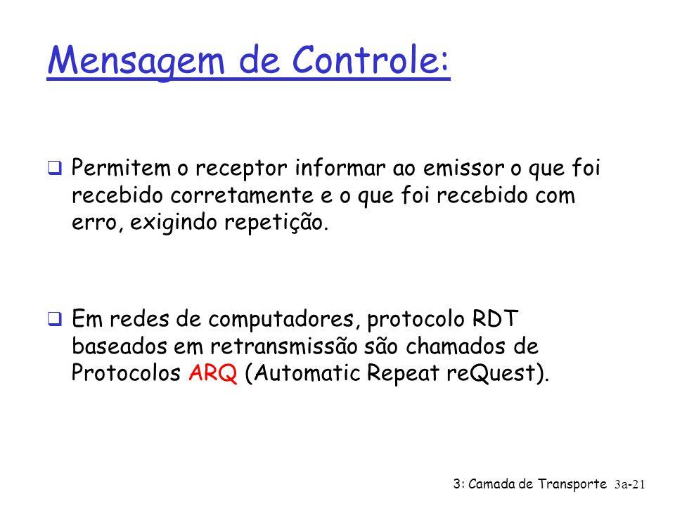 Mensagem de Controle: Permitem o receptor informar ao emissor o que foi recebido corretamente e o que foi recebido com erro, exigindo repetição.