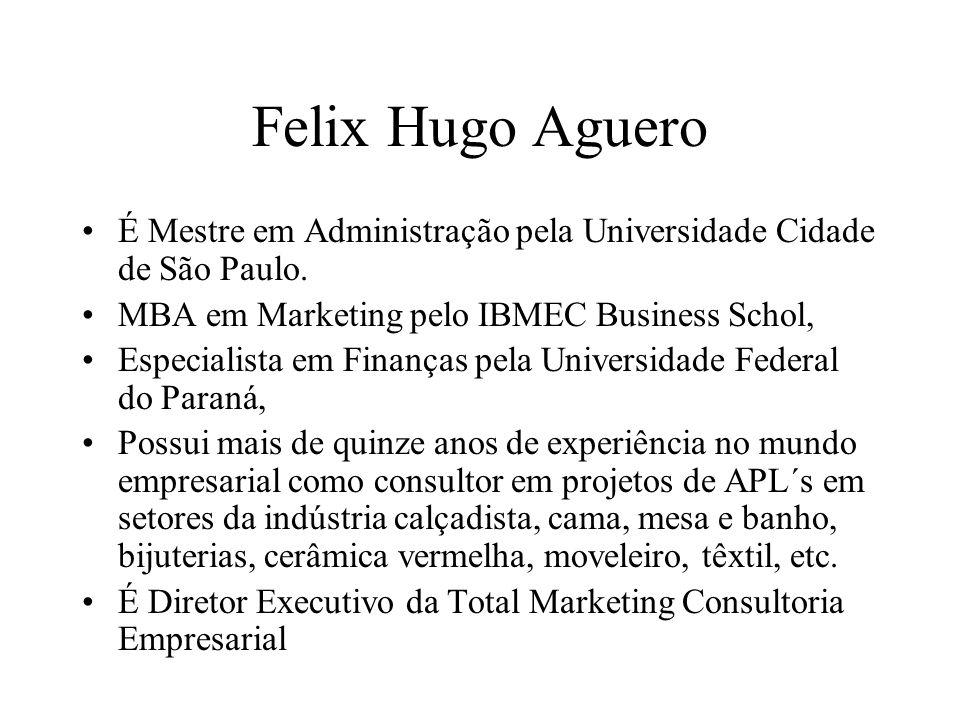 Felix Hugo Aguero É Mestre em Administração pela Universidade Cidade de São Paulo. MBA em Marketing pelo IBMEC Business Schol,