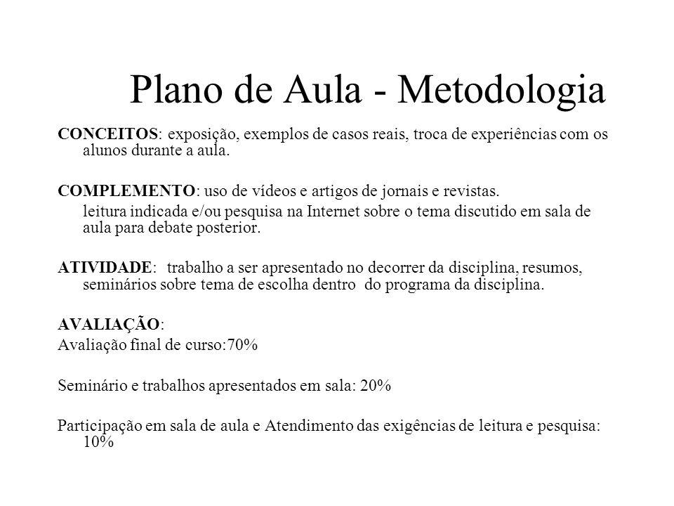 Plano de Aula - Metodologia
