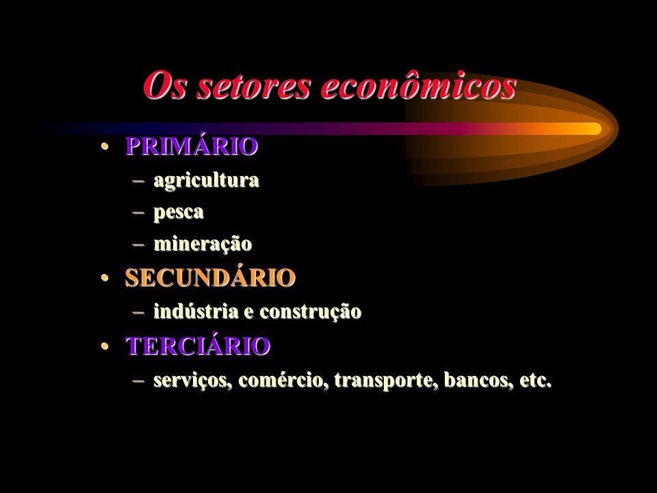 Os setores econômicos PRIMÁRIO SECUNDÁRIO TERCIÁRIO agricultura pesca