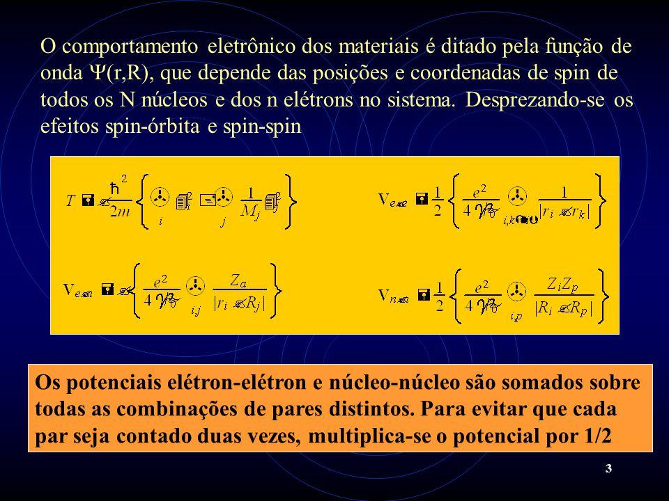 O comportamento eletrônico dos materiais é ditado pela função de onda (r,R), que depende das posições e coordenadas de spin de todos os N núcleos e dos n elétrons no sistema. Desprezando-se os efeitos spin-órbita e spin-spin