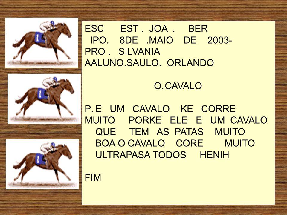 ESC EST . JOA . BER IPO. 8DE .MAIO DE 2003- PRO . SILVANIA. AALUNO.SAULO. ORLANDO.