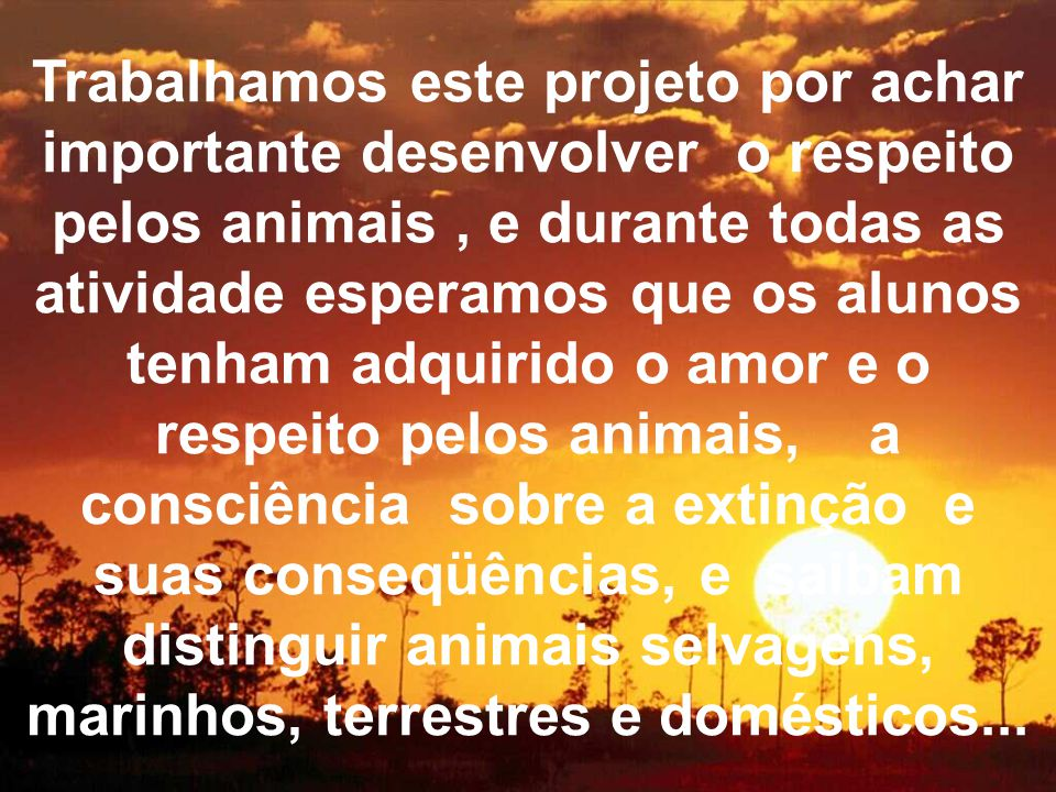 Trabalhamos este projeto por achar importante desenvolver o respeito pelos animais , e durante todas as atividade esperamos que os alunos tenham adquirido o amor e o respeito pelos animais, a consciência sobre a extinção e suas conseqüências, e saibam distinguir animais selvagens, marinhos, terrestres e domésticos...