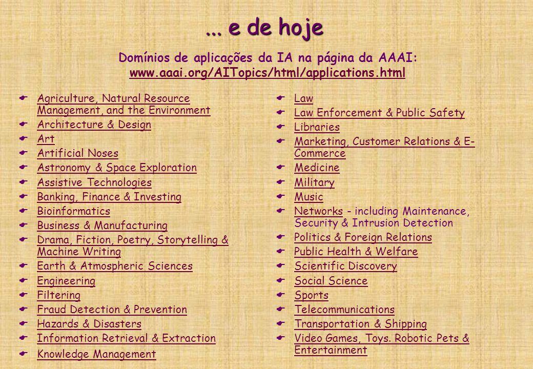 ... e de hoje Domínios de aplicações da IA na página da AAAI: www.aaai.org/AITopics/html/applications.html.