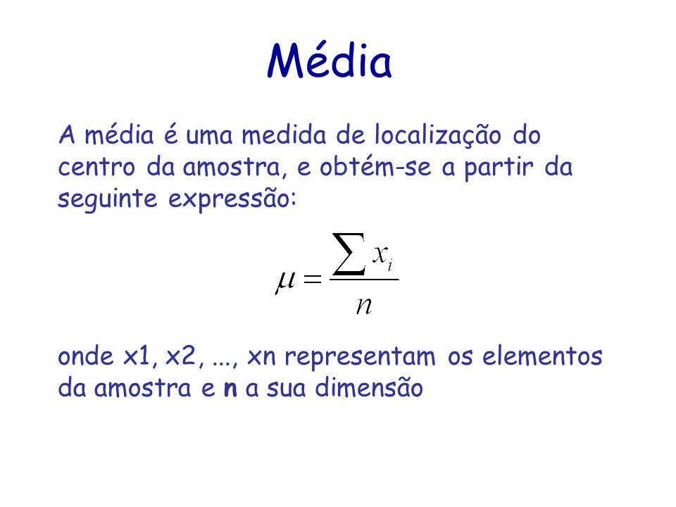Média A média é uma medida de localização do centro da amostra, e obtém-se a partir da seguinte expressão: