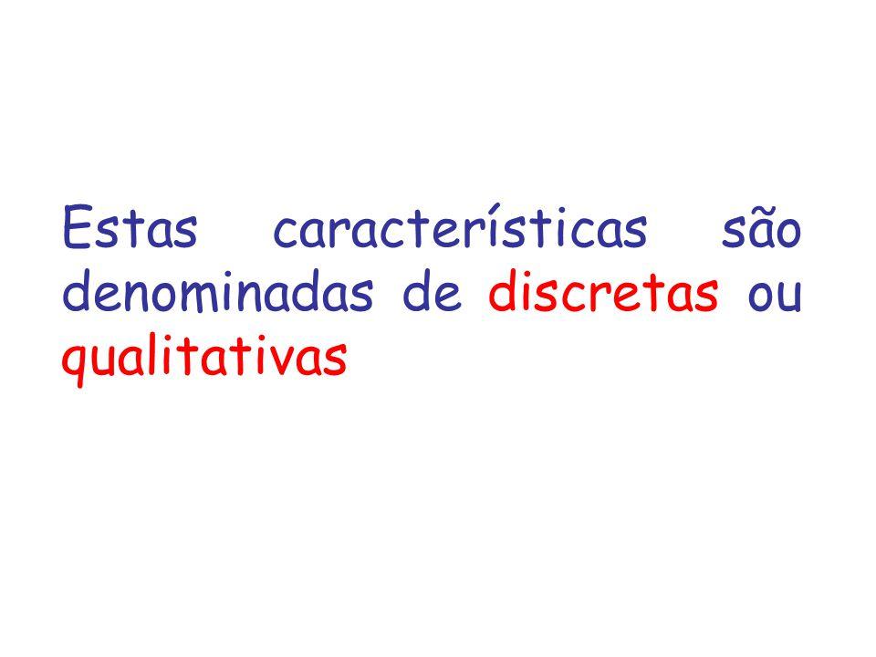 Estas características são denominadas de discretas ou qualitativas