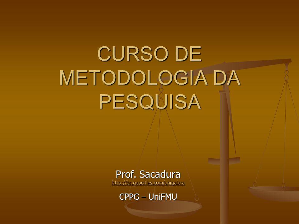 CURSO DE METODOLOGIA DA PESQUISA