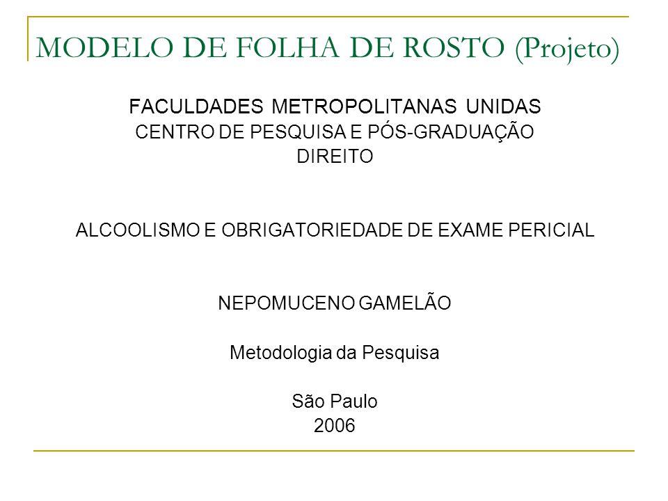 MODELO DE FOLHA DE ROSTO (Projeto)