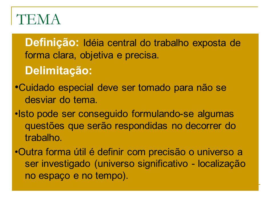 TEMA Definição: Idéia central do trabalho exposta de forma clara, objetiva e precisa. Delimitação: