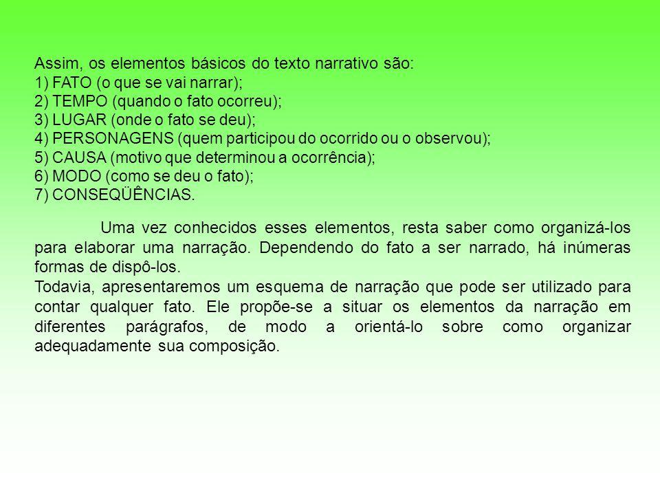 Assim, os elementos básicos do texto narrativo são: