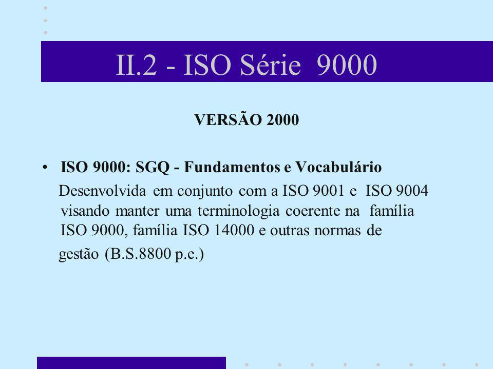 II.2 - ISO Série 9000 VERSÃO 2000. ISO 9000: SGQ - Fundamentos e Vocabulário.