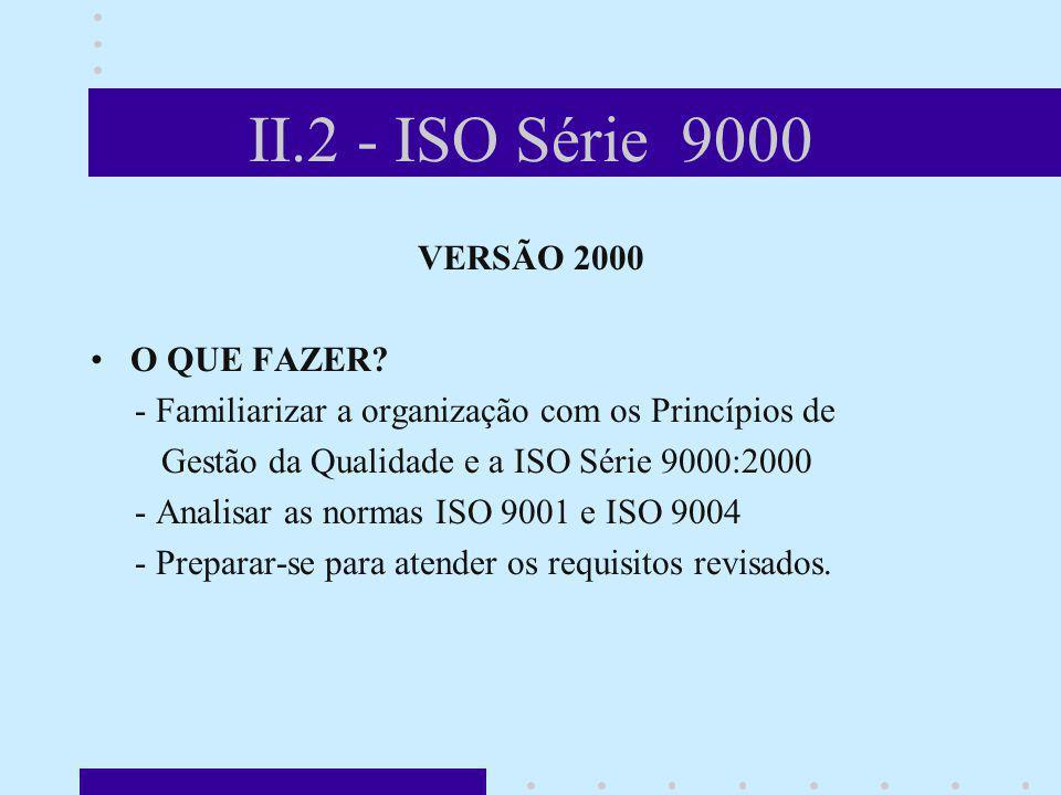 II.2 - ISO Série 9000 VERSÃO 2000 O QUE FAZER