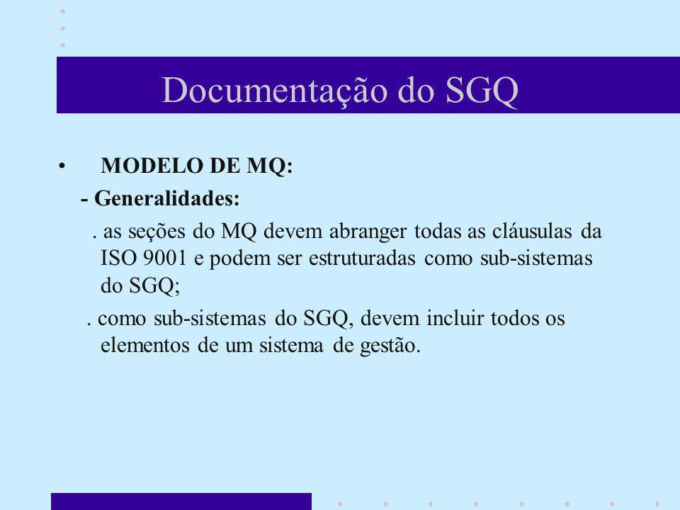 Documentação do SGQ MODELO DE MQ: - Generalidades: