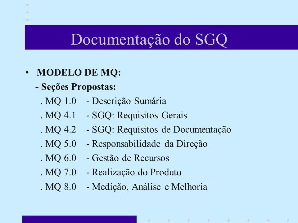 Documentação do SGQ MODELO DE MQ: - Seções Propostas: