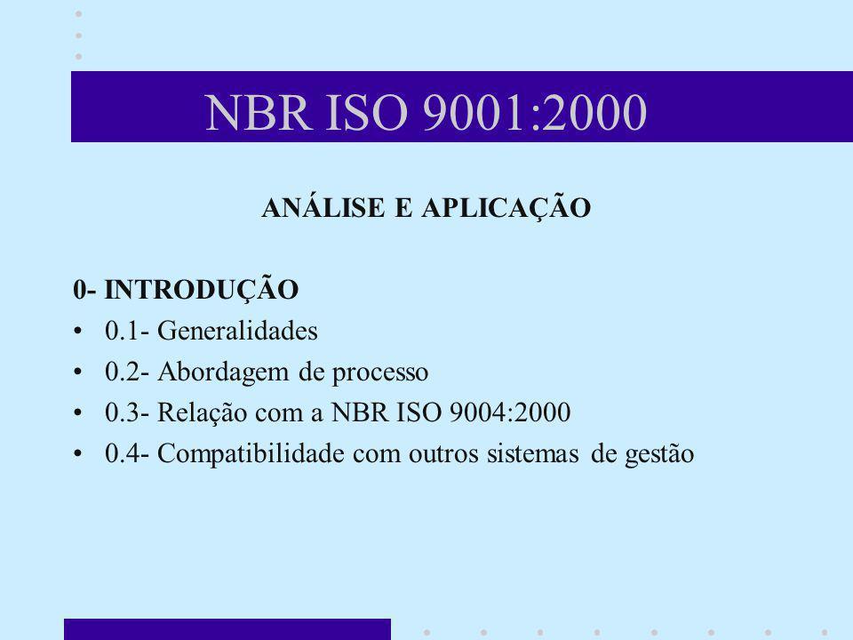 NBR ISO 9001:2000 ANÁLISE E APLICAÇÃO 0- INTRODUÇÃO 0.1- Generalidades