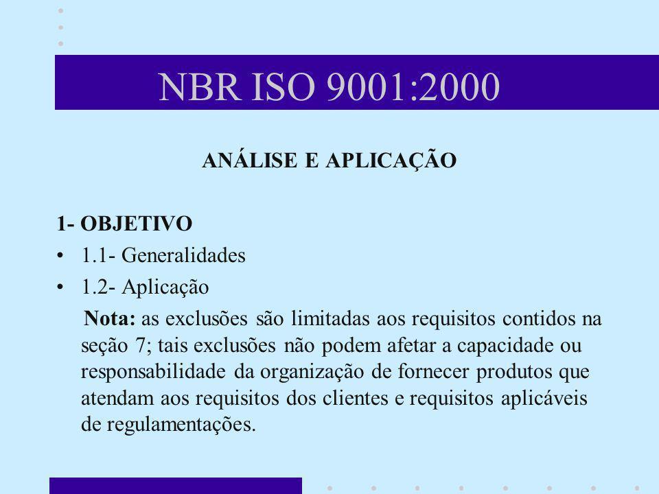 NBR ISO 9001:2000 ANÁLISE E APLICAÇÃO 1- OBJETIVO 1.1- Generalidades