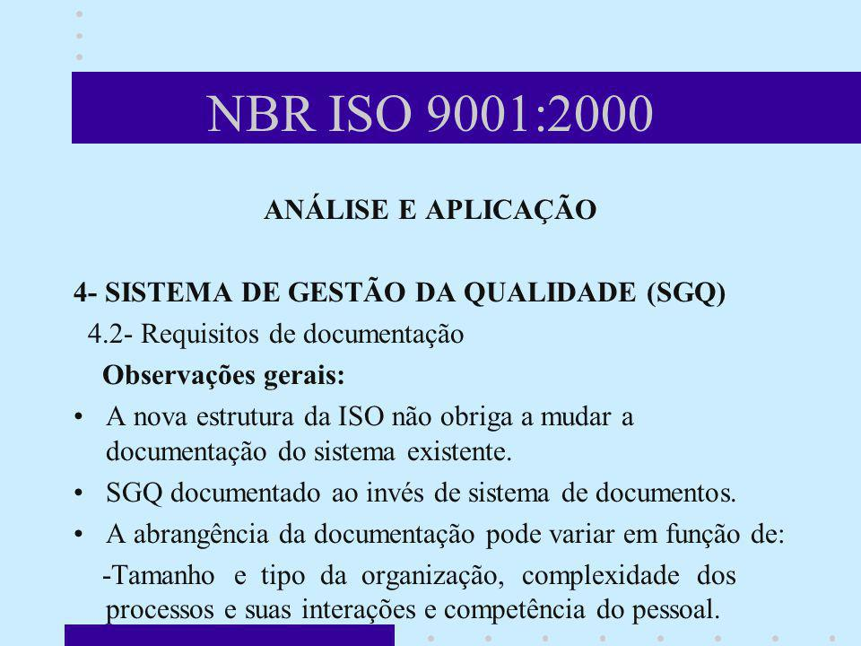NBR ISO 9001:2000 ANÁLISE E APLICAÇÃO
