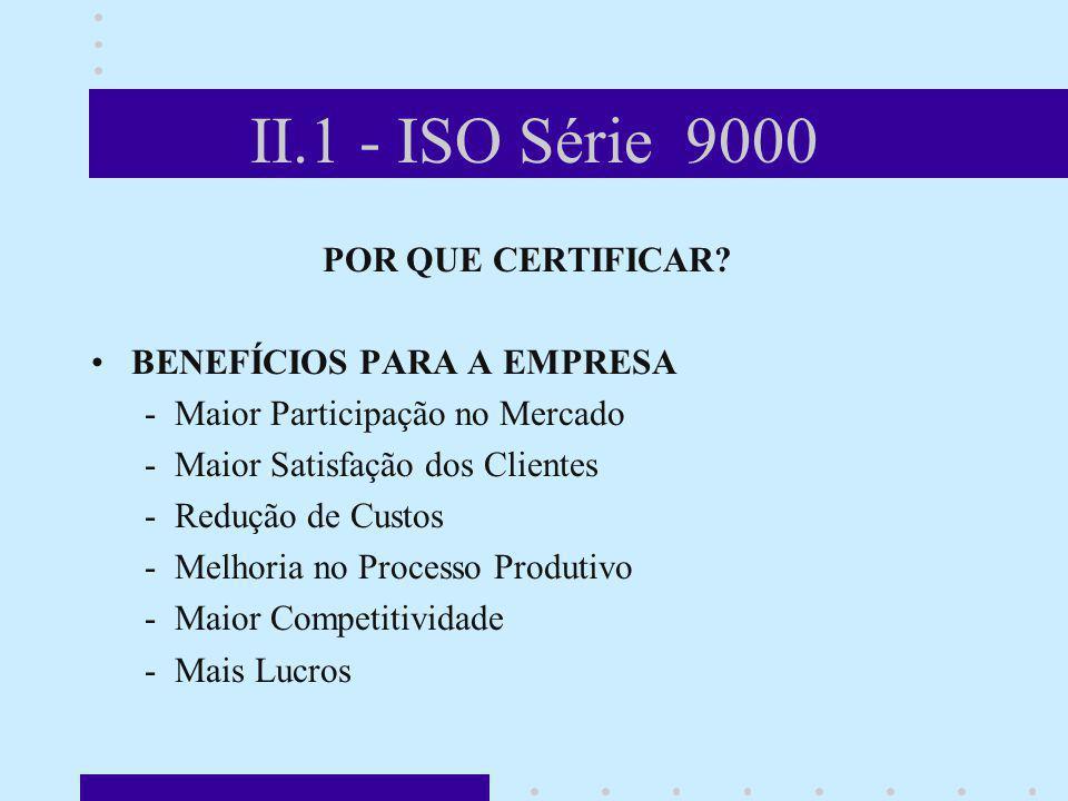 II.1 - ISO Série 9000 POR QUE CERTIFICAR BENEFÍCIOS PARA A EMPRESA