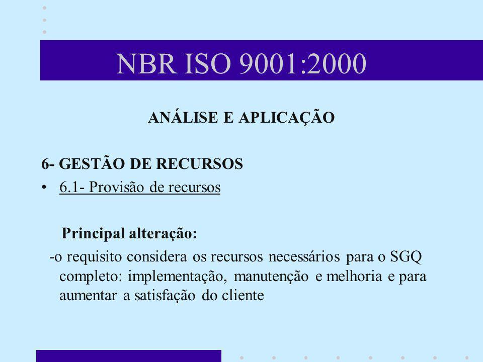 NBR ISO 9001:2000 ANÁLISE E APLICAÇÃO 6- GESTÃO DE RECURSOS