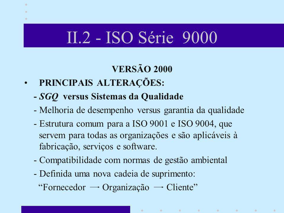 II.2 - ISO Série 9000 VERSÃO 2000 PRINCIPAIS ALTERAÇÕES: